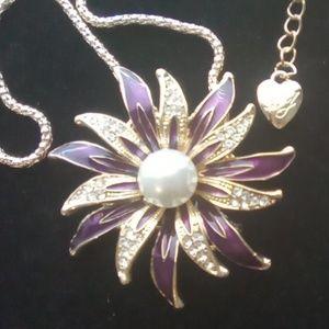 Betsey Johnson Purple Enamel Flower.